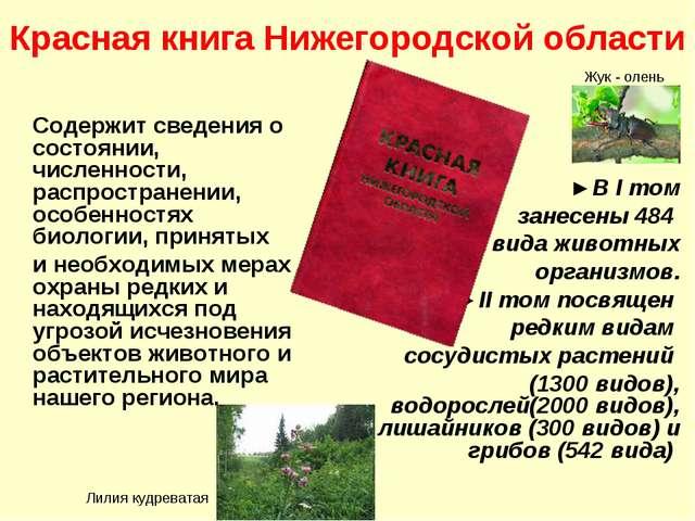 Красная книга Нижегородской области Содержит сведения о состоянии, численност...