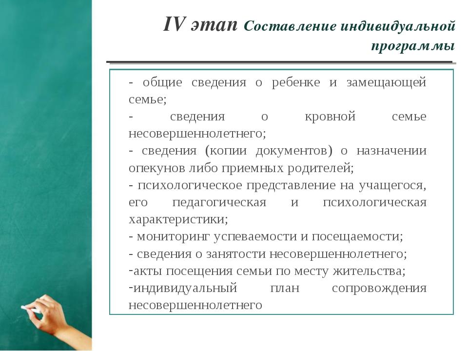 IV этап Составление индивидуальной программы - общие сведения о ребенке и зам...