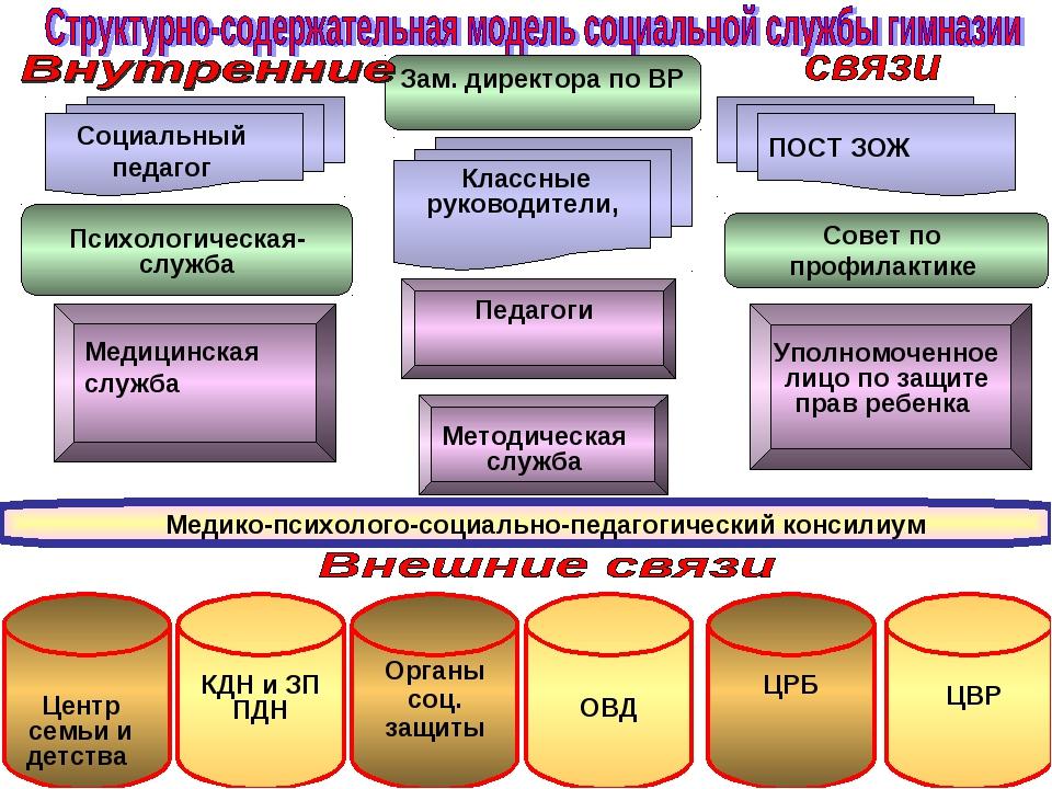 Педагоги Зам. директора по ВР Совет по профилактике ПОСТ ЗОЖ Социальный педаг...