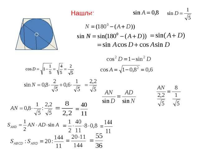 O А В С K N M D Т Нашли: SABCD=20 ; ; По основному тождеству По теореме сину...