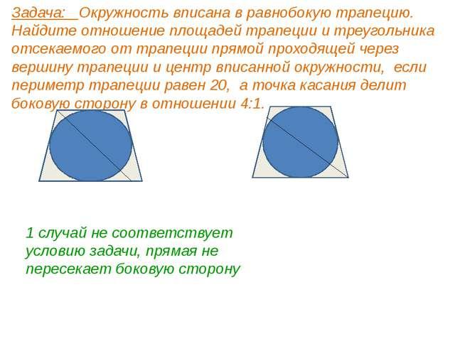 Задача: Окружность вписана в равнобокую трапецию. Найдите отношение площадей...