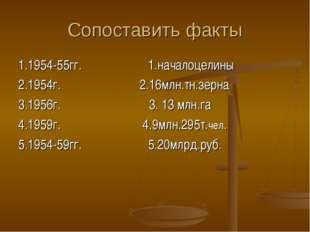 Сопоставить факты 1.1954-55гг. 1.началоцелины 2.1954г. 2.16млн.тн.зерна 3.195