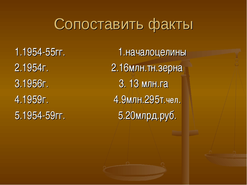 Сопоставить факты 1.1954-55гг. 1.началоцелины 2.1954г. 2.16млн.тн.зерна 3.195...