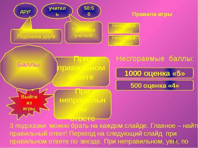 Правила игры 3 подсказки можно брать на каждом слайде. Главное – найти правил...