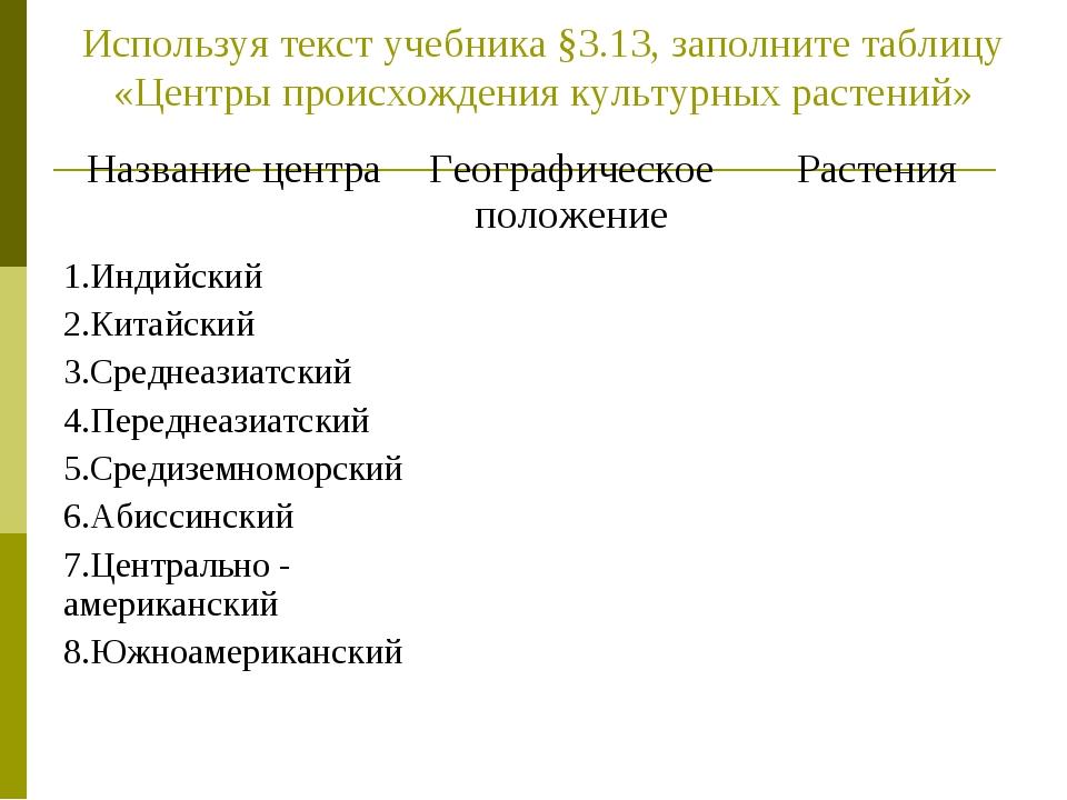Используя текст учебника §3.13, заполните таблицу «Центры происхождения культ...