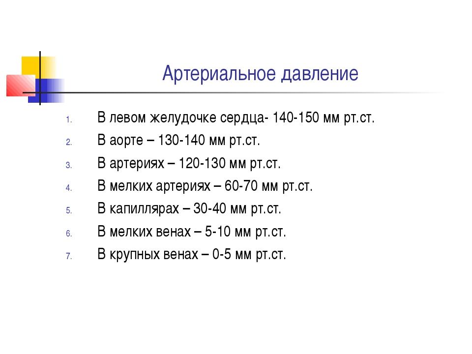 Артериальное давление В левом желудочке сердца- 140-150 мм рт.ст. В аорте – 1...