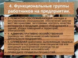 4. Функциональные группы работников на предприятии. 3. РЕМОНТНО-ОБСЛУЖИВАЮЩАЯ