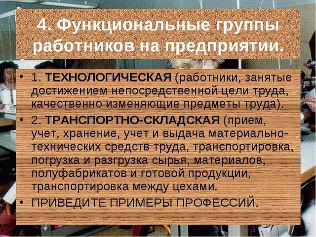 4. Функциональные группы работников на предприятии. 1. ТЕХНОЛОГИЧЕСКАЯ (работ...