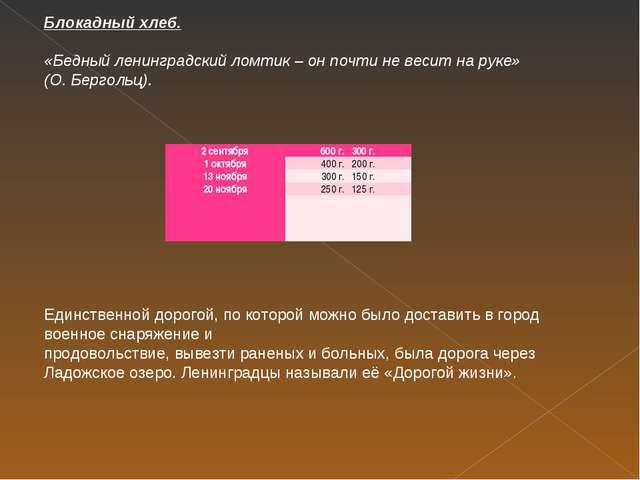 Блокадный хлеб. «Бедный ленинградский ломтик – он почти не весит на руке» (О....