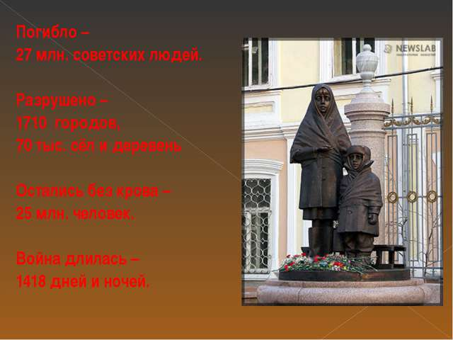 Погибло – 27 млн. советских людей. Разрушено – 1710 городов, 70 тыс. сёл и де...