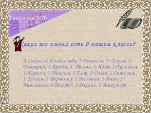 Какие же имена есть в нашем классе? 2-Софьи, 4- Владислава, 2-Даниила, 1- Дар