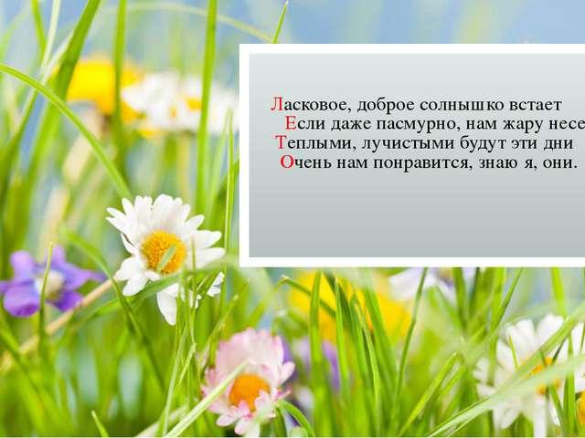 Ласковое, доброе солнышко встает Если даже пасмурно, нам жару несет Теплыми,...