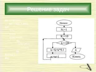 Решение задач алг спортсмен арг n нат; к вещ нач n:=1 к:=10 пока к