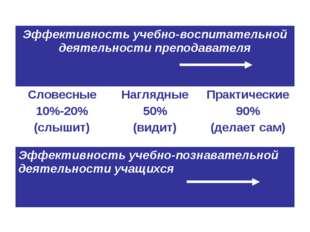 Эффективность учебно-воспитательной деятельности преподавателя Словесные 10