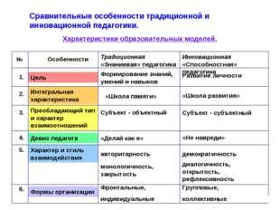 Сравнительные особенности традиционной и инновационной педагогики. 1. Цель Фо