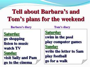 Tell about Barbara's and Tom's plans for the weekend Saturday go shopping lis