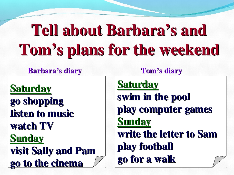 Tell about Barbara's and Tom's plans for the weekend Saturday go shopping lis...