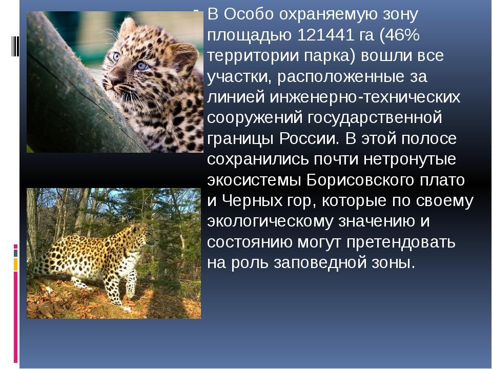 В Особо охраняемую зону площадью 121441 га (46% территории парка) вошли все...