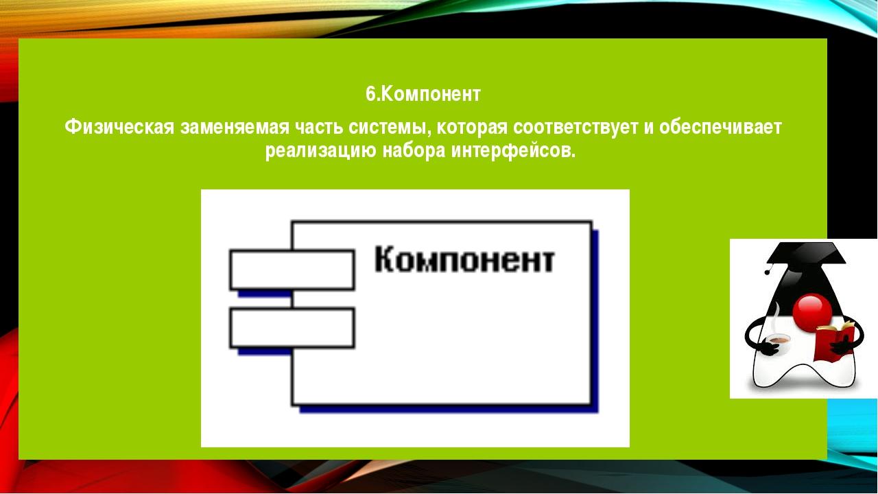 6.Компонент Физическая заменяемая часть системы, которая соответствует и обе...