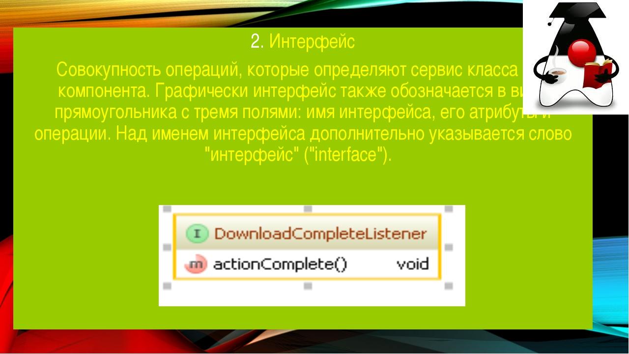 2. Интерфейс Совокупность операций, которые определяют сервис класса или комп...