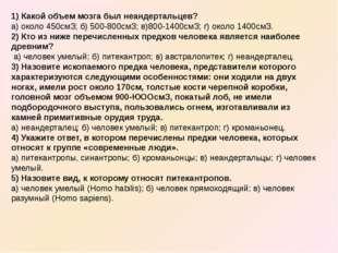 1) Какой объем мозга был неандертальцев? а) около 450смЗ; б) 500-800смЗ; в)80