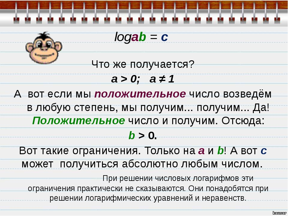 Что же получается? а > 0;  a ≠ 1 А вот если мы положительное число возведём...