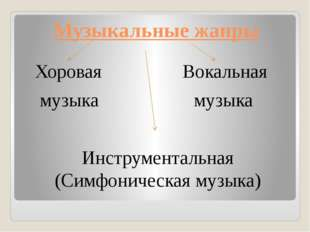 Музыкальные жанры Хоровая Вокальная музыка музыка Инструментальная (Симфониче