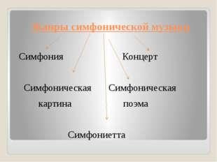 Жанры симфонической музыки Симфония Концерт Симфоническая Симфоническая карти