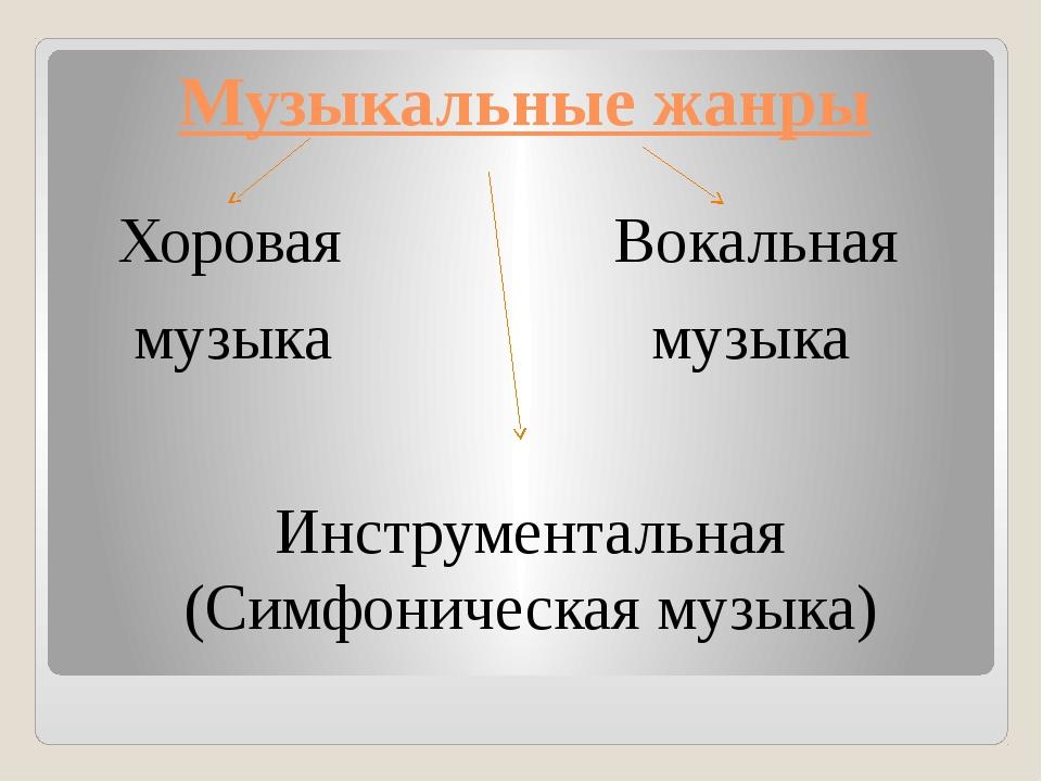 Музыкальные жанры Хоровая Вокальная музыка музыка Инструментальная (Симфониче...