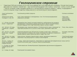 Геологическое строение Территория РМЭ расположена на Русской плите древней Во