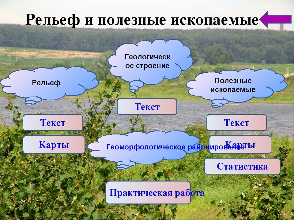 Рельеф и полезные ископаемые Карты Статистика Практическая работа Текст Релье...