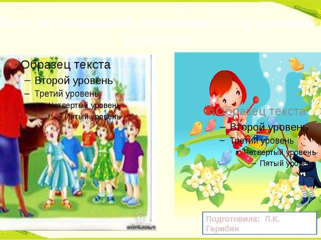 Роль музыкальной деятельности в речевом развитии Подготовила: Л.К. Гарибян