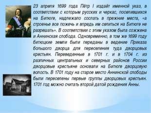 23 апреля 1699 года Пётр I издаёт именной указ, в соответствии с которым русс