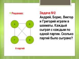 Решение: А Б Г В Задача №2 Андрей, Борис, Виктор и Григорий играли в шахматы.