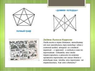полный граф «домики- колодцы» Задача Льюиса Кэррола: Люди жили в трех домиках