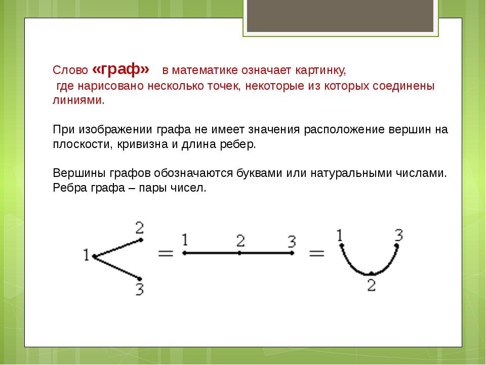 Слово «граф» в математике означает картинку, где нарисовано несколько точек,...
