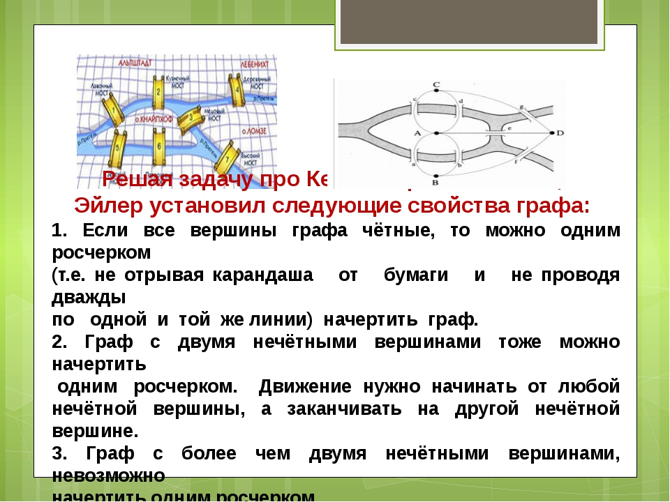 Решая задачу про Кенигсбергские мосты, Эйлер установил следующие свойства гра...