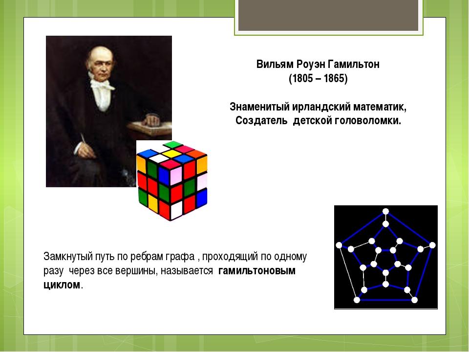 Вильям Роуэн Гамильтон (1805 – 1865) Знаменитый ирландский математик, Создате...