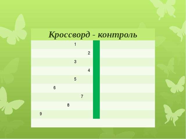 Кроссворд - контроль 1 2 3 4 5 6 7 8 9