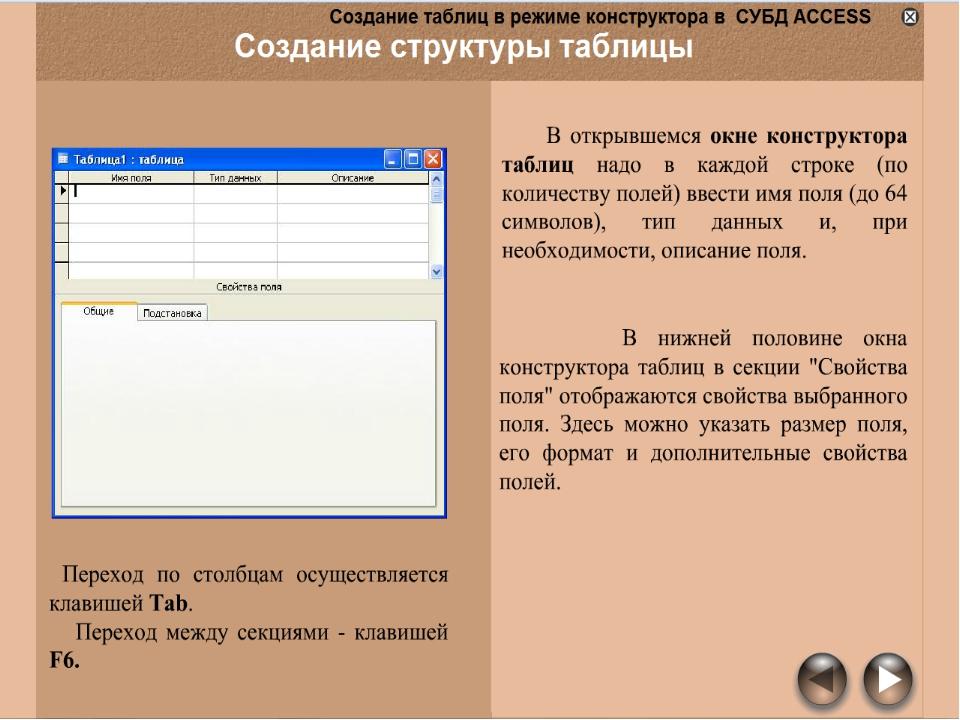 данных таблицы в режим создания базе