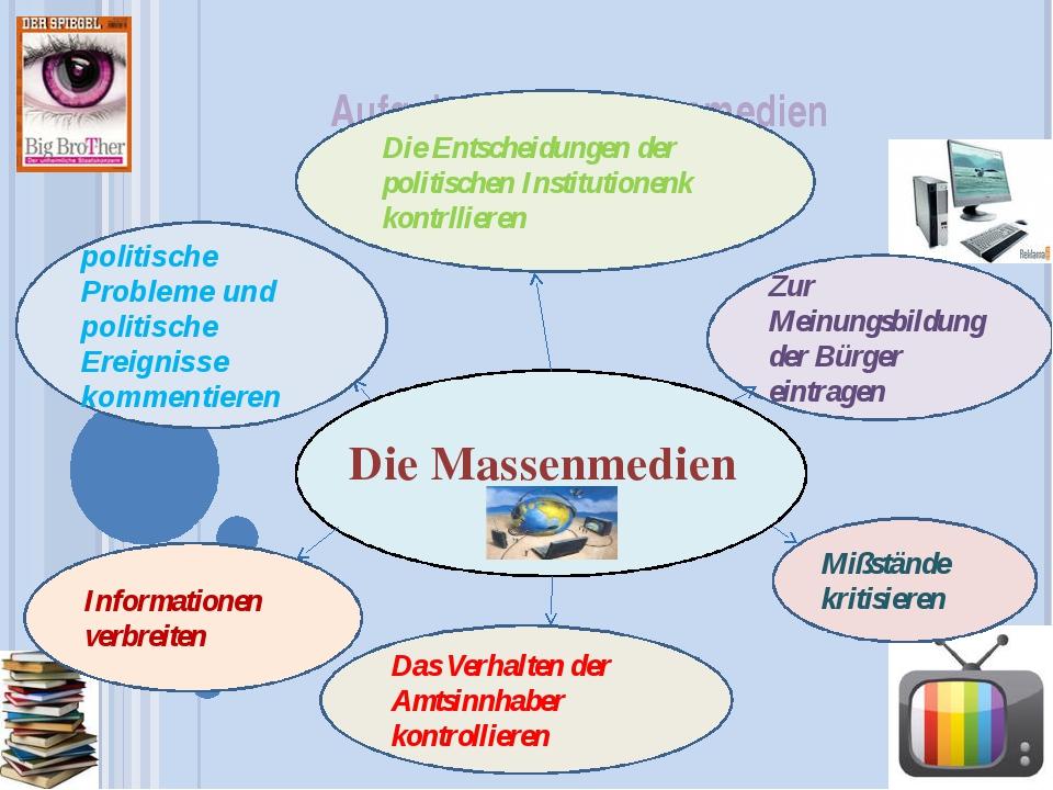 Aufgaben der Massenmedien  Die Massenmedien politische Probleme und politisc...