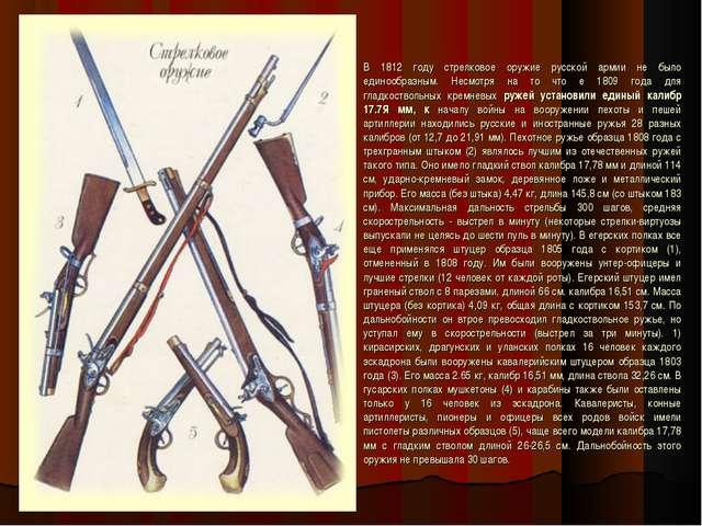 В 1812 году стрелковое оружие русской армии не было единообразным. Несмотря н...