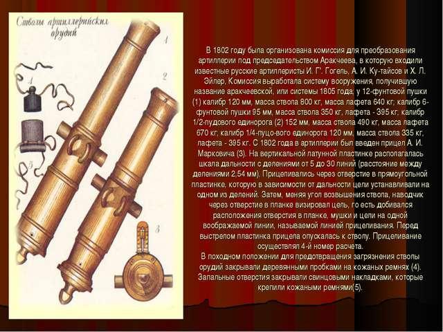 В 1802 году была организована комиссия для преобразования артиллерии под пред...