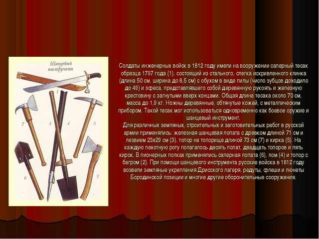 Солдаты инженерных войск в 1812 году имели на вооружении саперный тесак образ...