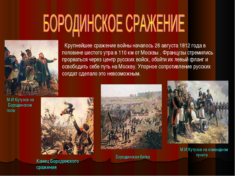 М.И.Кутузов на Бородинском поле Крупнейшее сражение войны началось 26 августа...