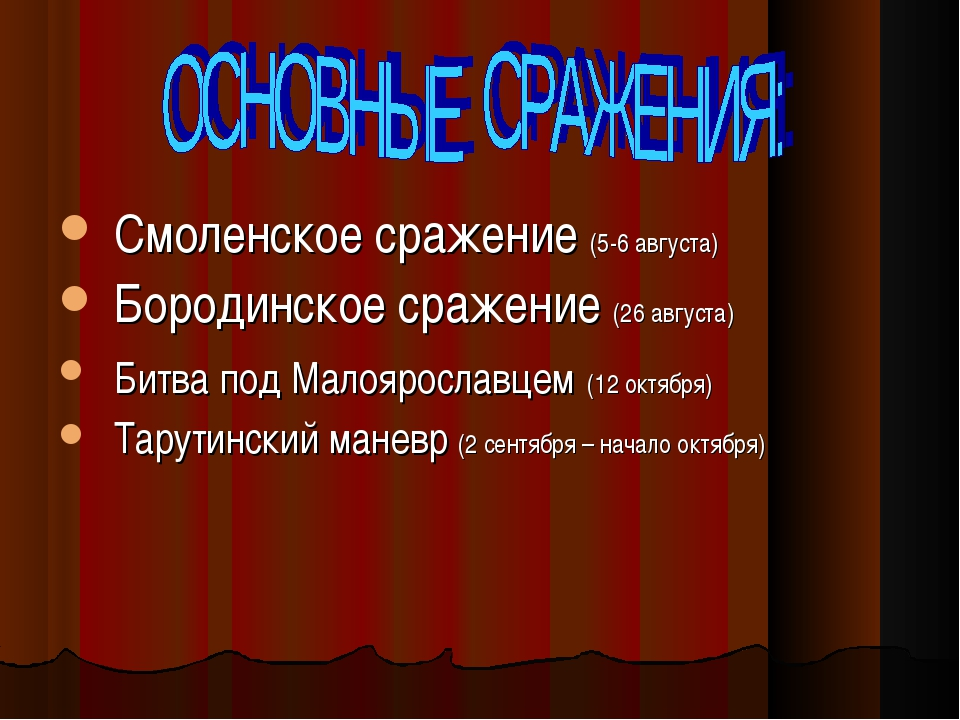 Смоленское сражение (5-6 августа) Бородинское сражение (26 августа) Битва под...