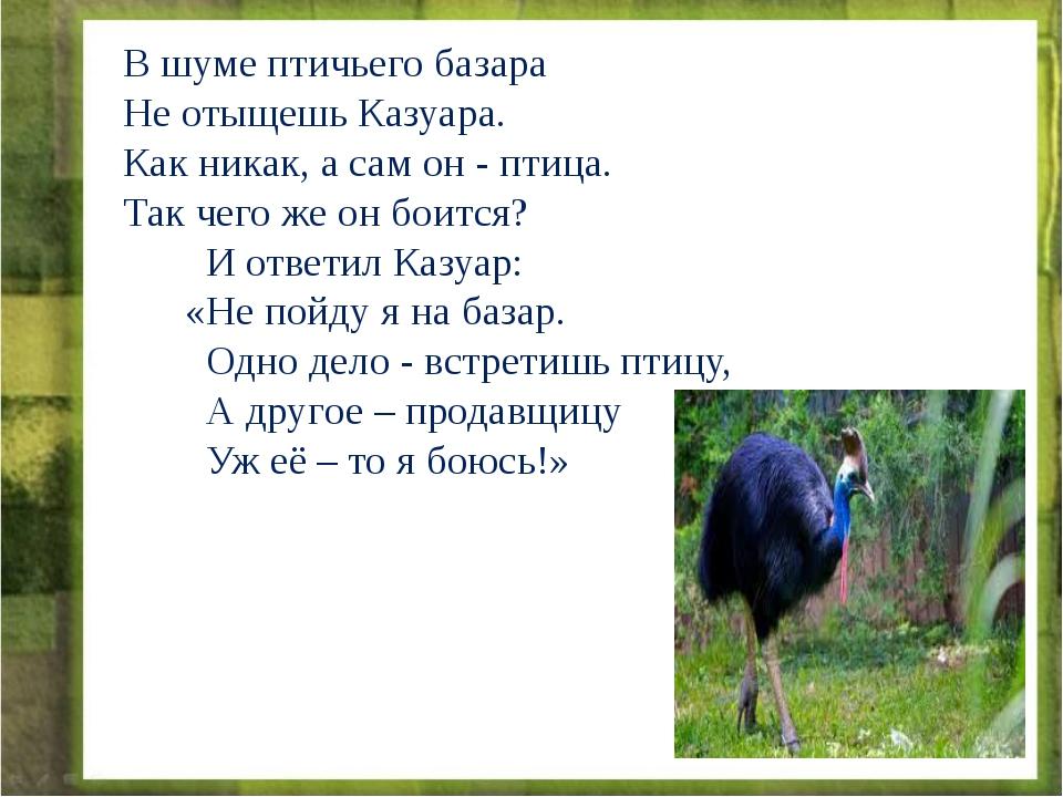 В шуме птичьего базара Не отыщешь Казуара. Как никак, а сам он - птица. Так ч...