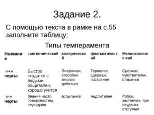 Задание 2. С помощью текста в рамке на с.55 заполните таблицу: Типы темпераме