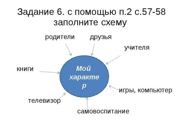 Задание 6. с помощью п.2 с.57-58 заполните схему родители друзья учителя книг...