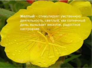 Желтый– стимулирует умственную деятельность, светлый, как солнечный день, вы